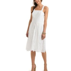 Eyelet A line fit and flare White cotton dress
